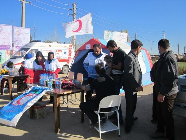 گزارش تصویری، تشریحی استقبال هلال احمرکوهدشت از زائران کوی حسین