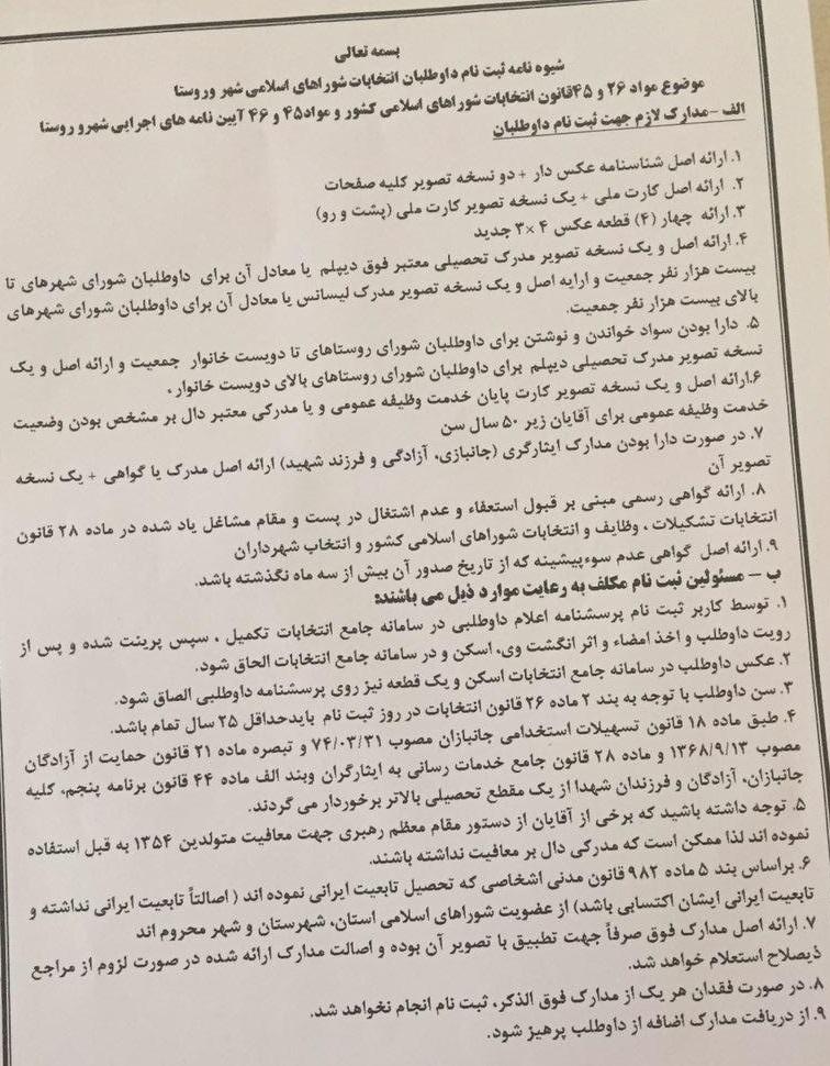 شرایط ثبت نام کاندیداتوری انتخابات شورای اسلامی شهر و روستا