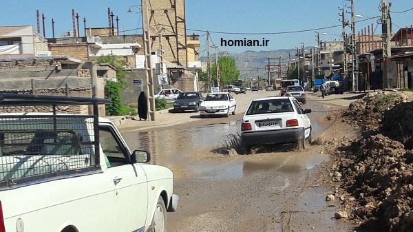وضعیت آب گرفتگی شهرک امام خمینی کوهدشت به روایت تصویر